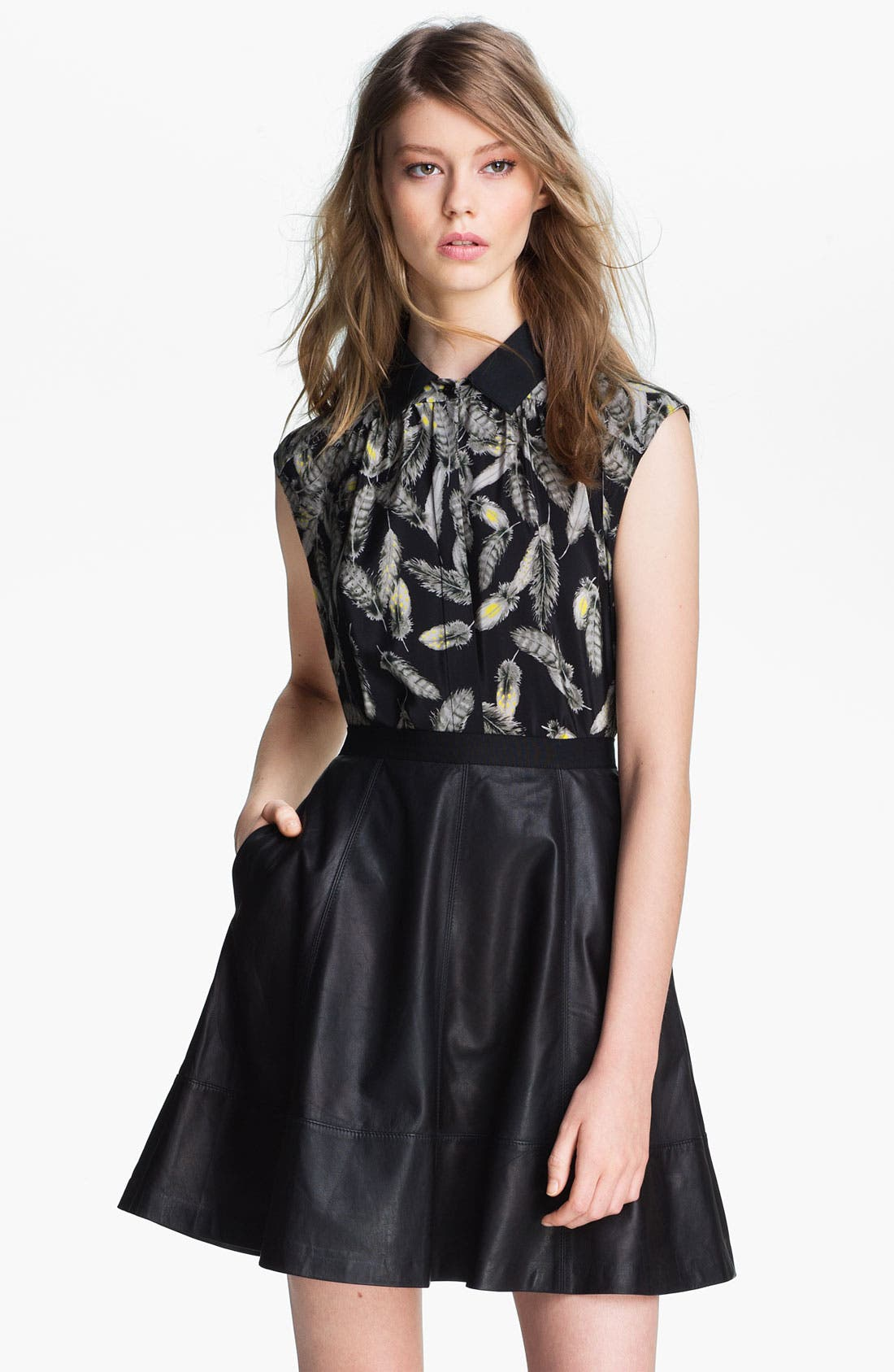 Alternate Image 2  - Miss Wu 'Bella' Feather Print Blouse (Nordstrom Exclusive)