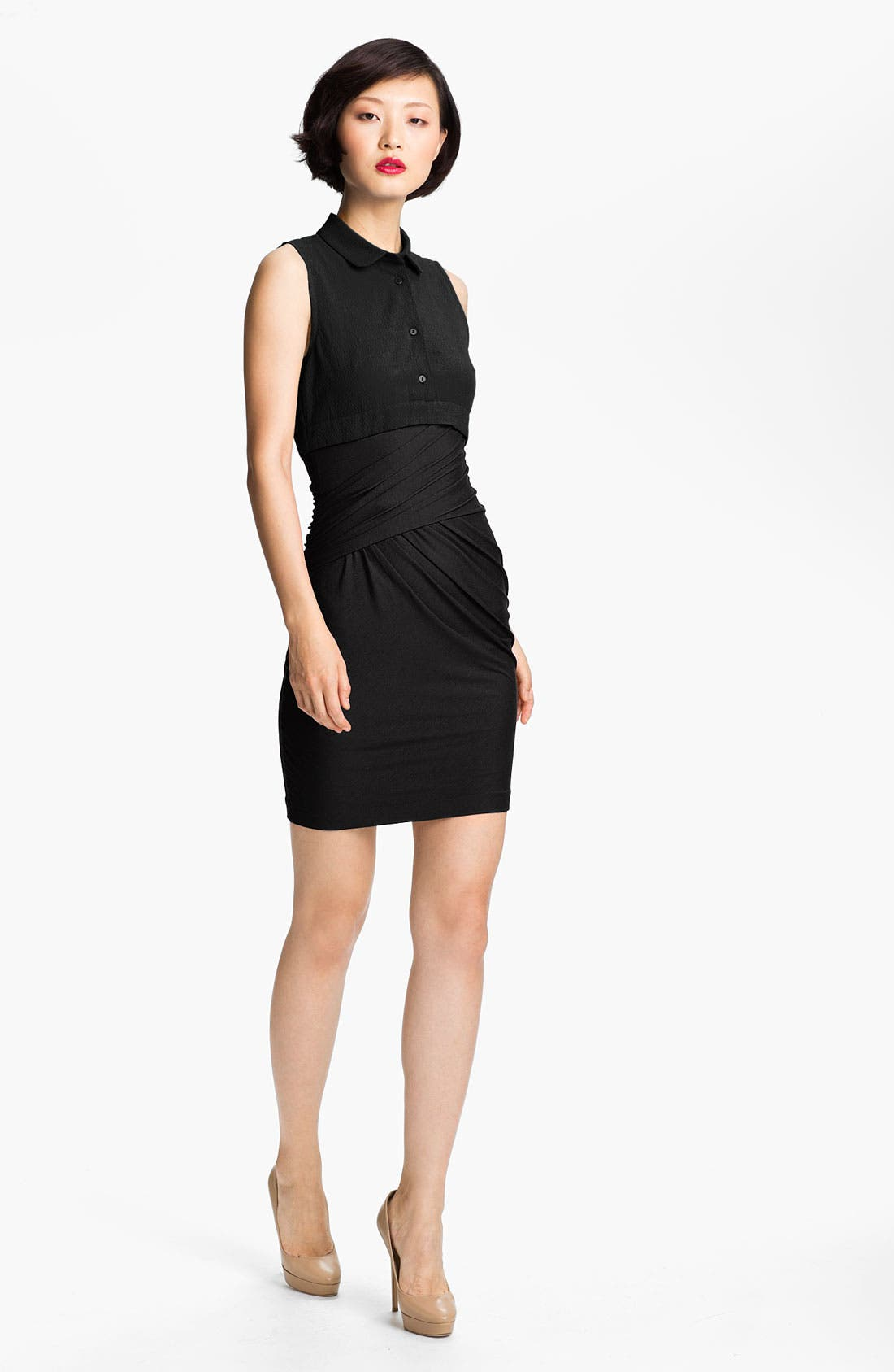 Main Image - Carven Woven & Wrap Jersey Dress
