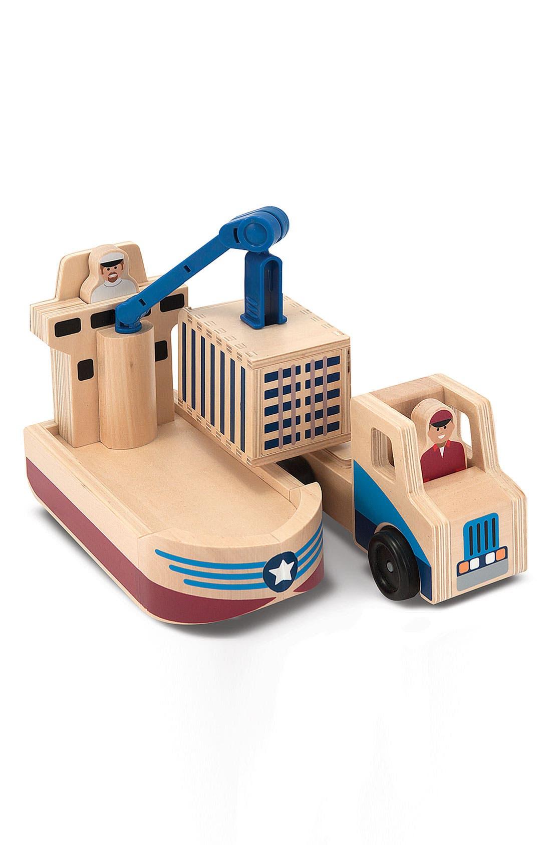 Main Image - Melissa & Doug 'Whittle World' Cargo Ship & Truck Wooden Toy