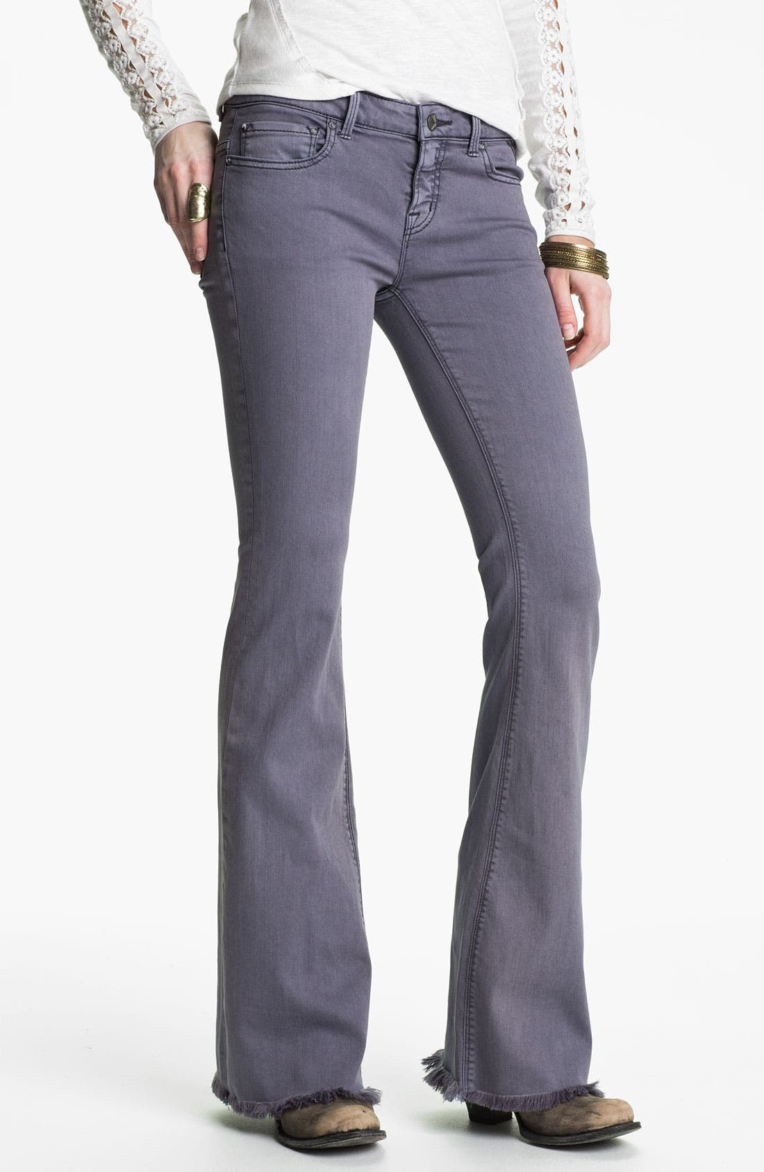 Main Image - Free People 'Millennium' Colored Denim Bootcut Jeans (Violet)