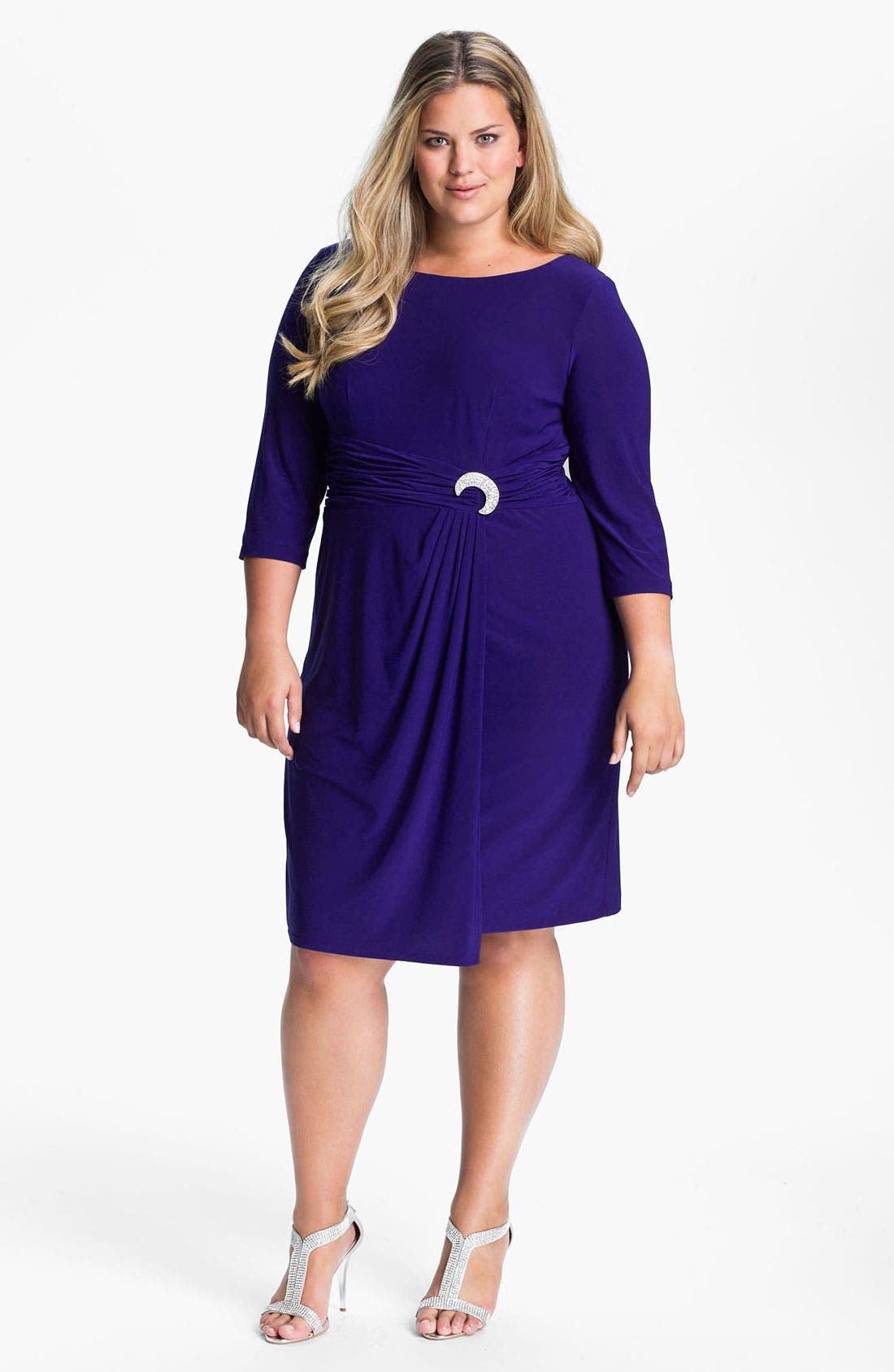 Alternate Image 1 Selected - Alex Evenings Jeweled Matte Jersey Dress (Plus)