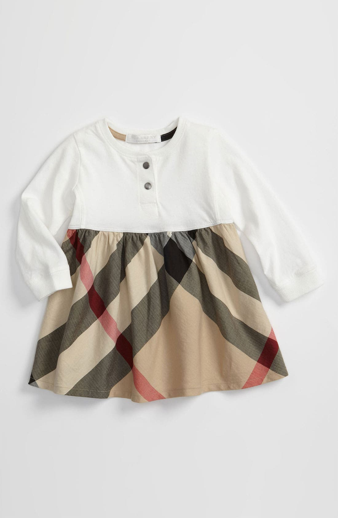 Main Image - Burberry Check Print Dress (Infant)
