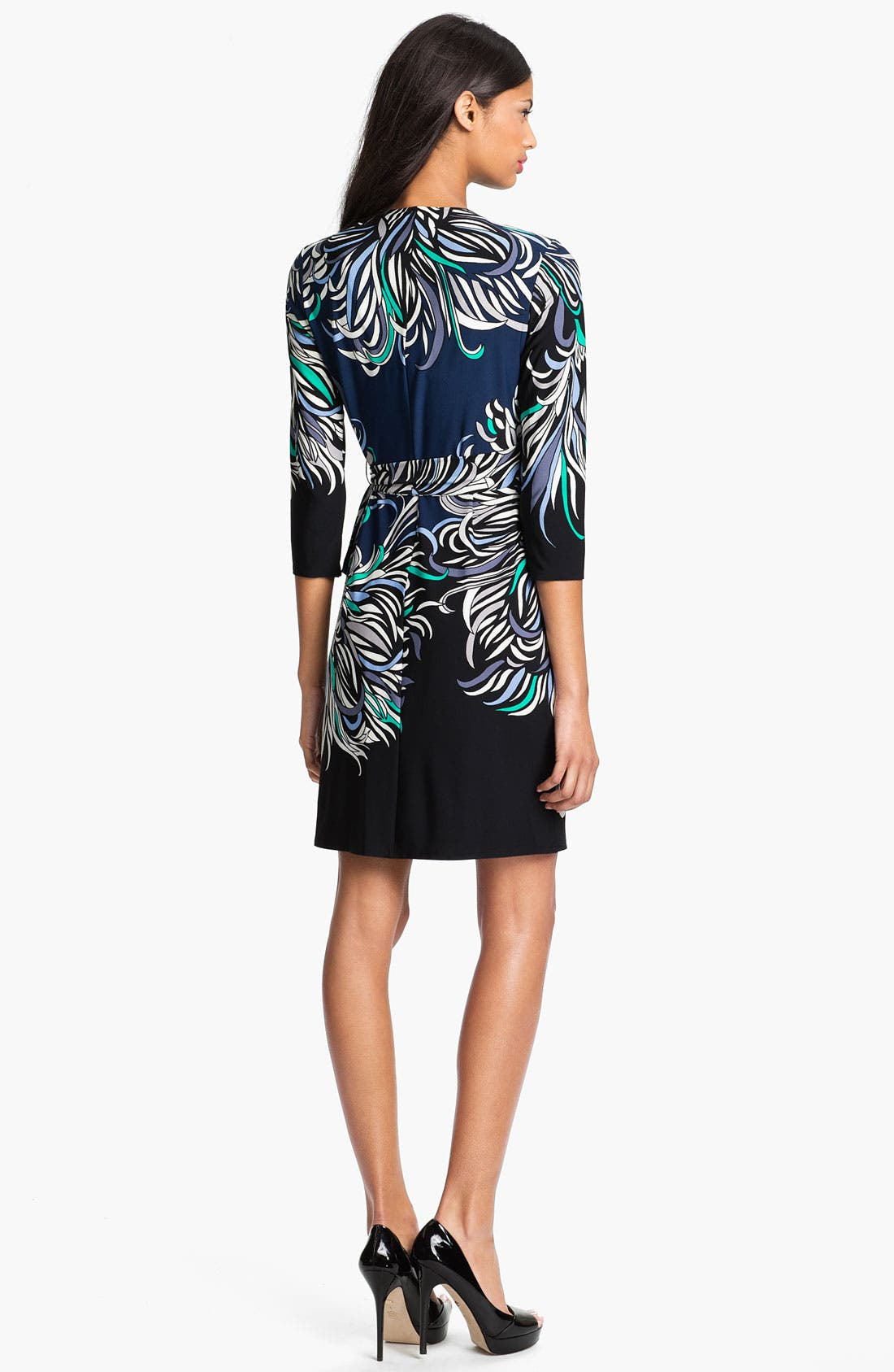 Alternate Image 2  - Donna Morgan Print Faux Wrap Dress