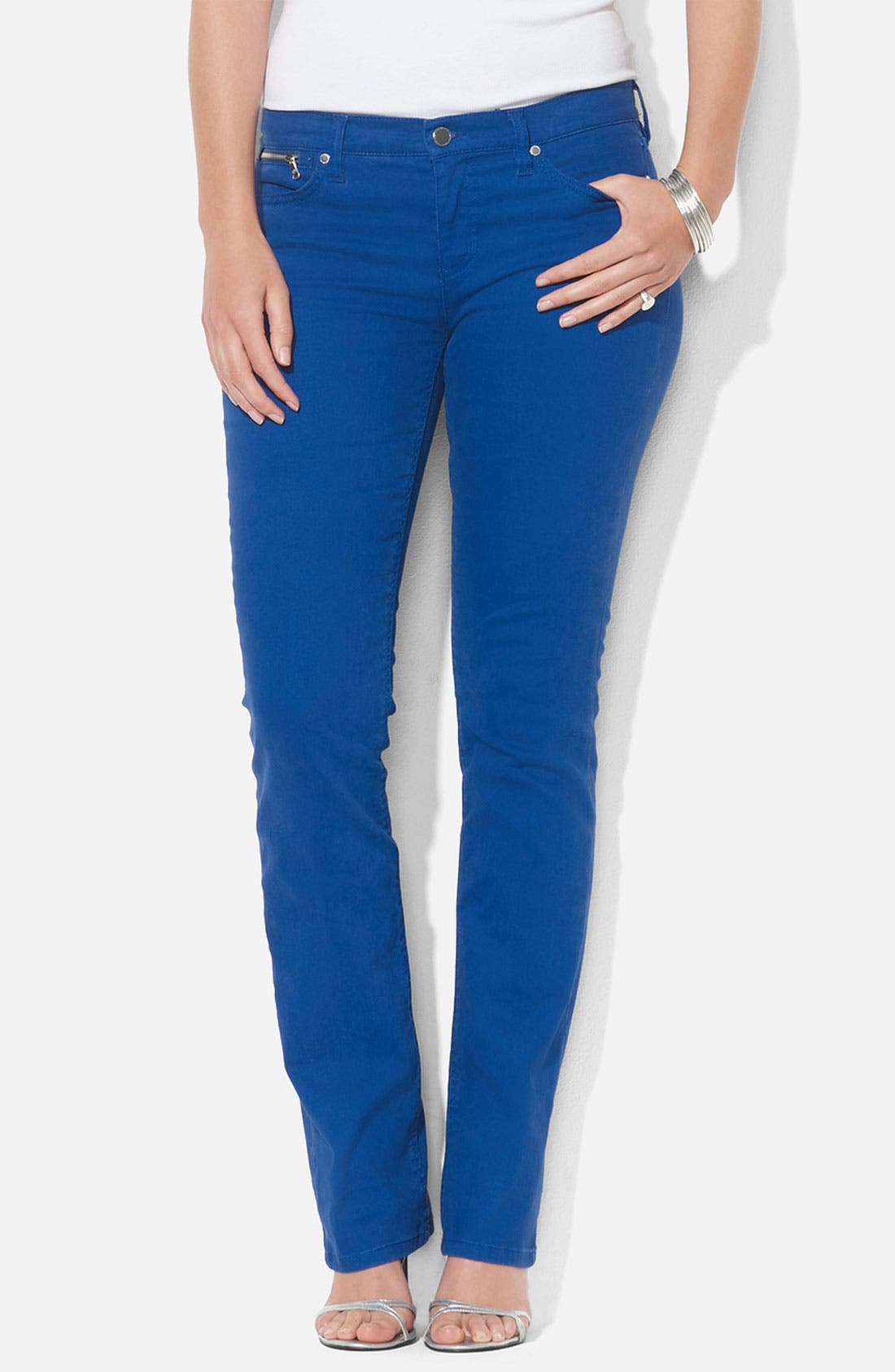 Alternate Image 1 Selected - Lauren Ralph Lauren Slim Straight Leg Colored Jeans (Plus)