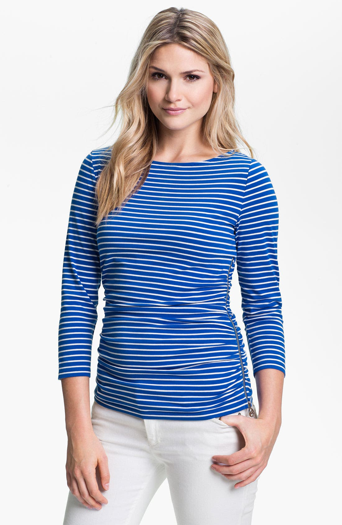Main Image - MICHAEL Michael Kors Ruched Side Zip Tee