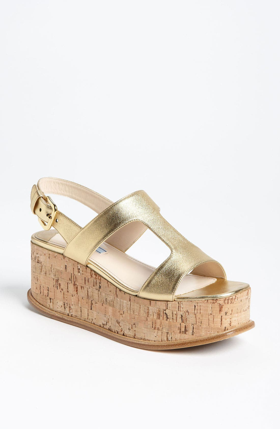 Alternate Image 1 Selected - Prada T-Strap Platform Wedge Sandal