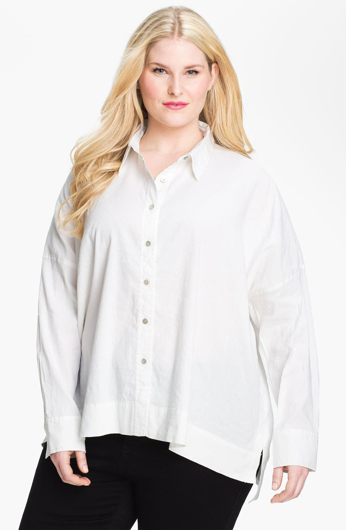 Alternate Image 1 Selected - Eileen Fisher Button Up Shirt (Plus Size)