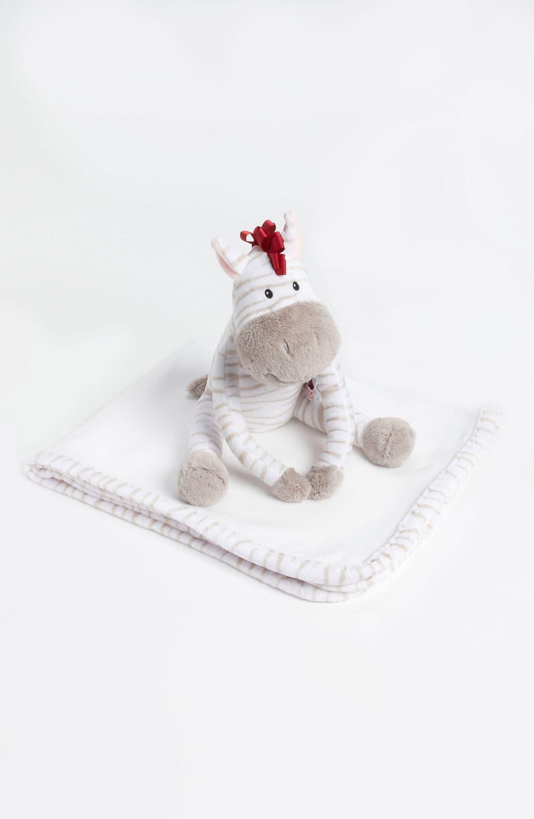 Main Image - Baby Aspen 'Zoey The Zebra' Stuffed Animal & Blanket (Baby)