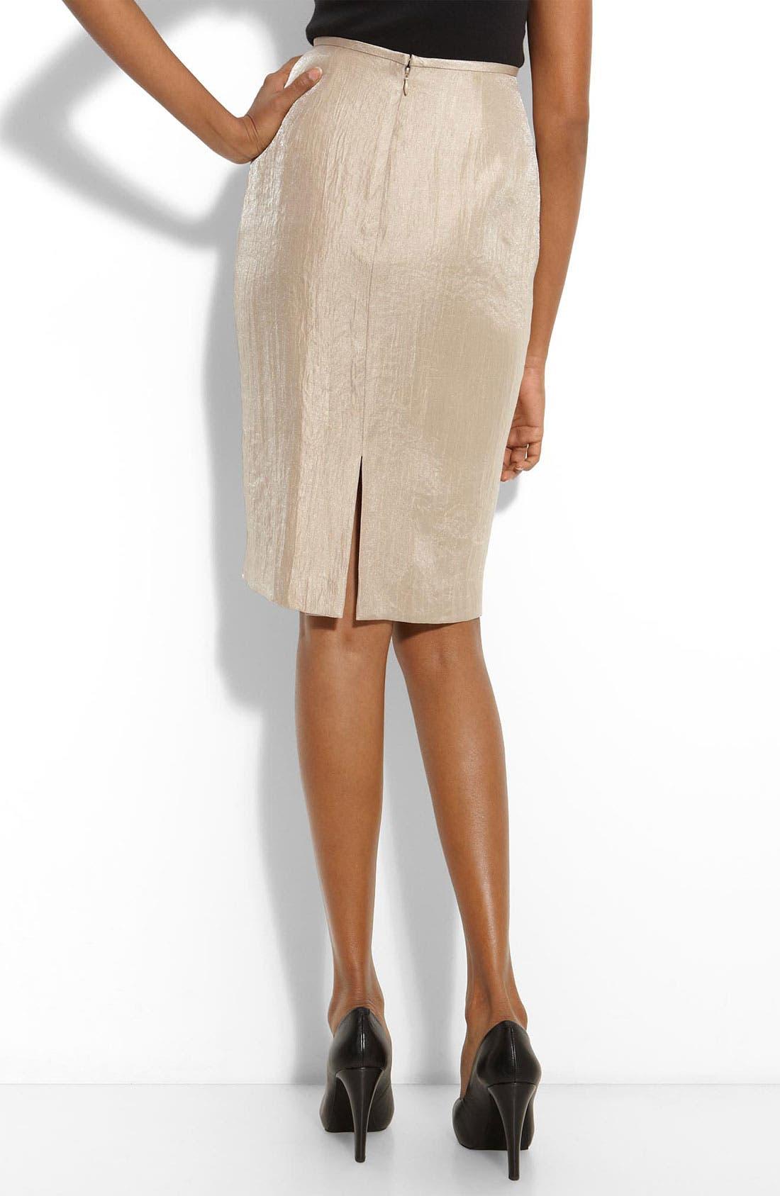 Alternate Image 2  - Adrianna Papell Metallic Textured Pencil Skirt (Petite)
