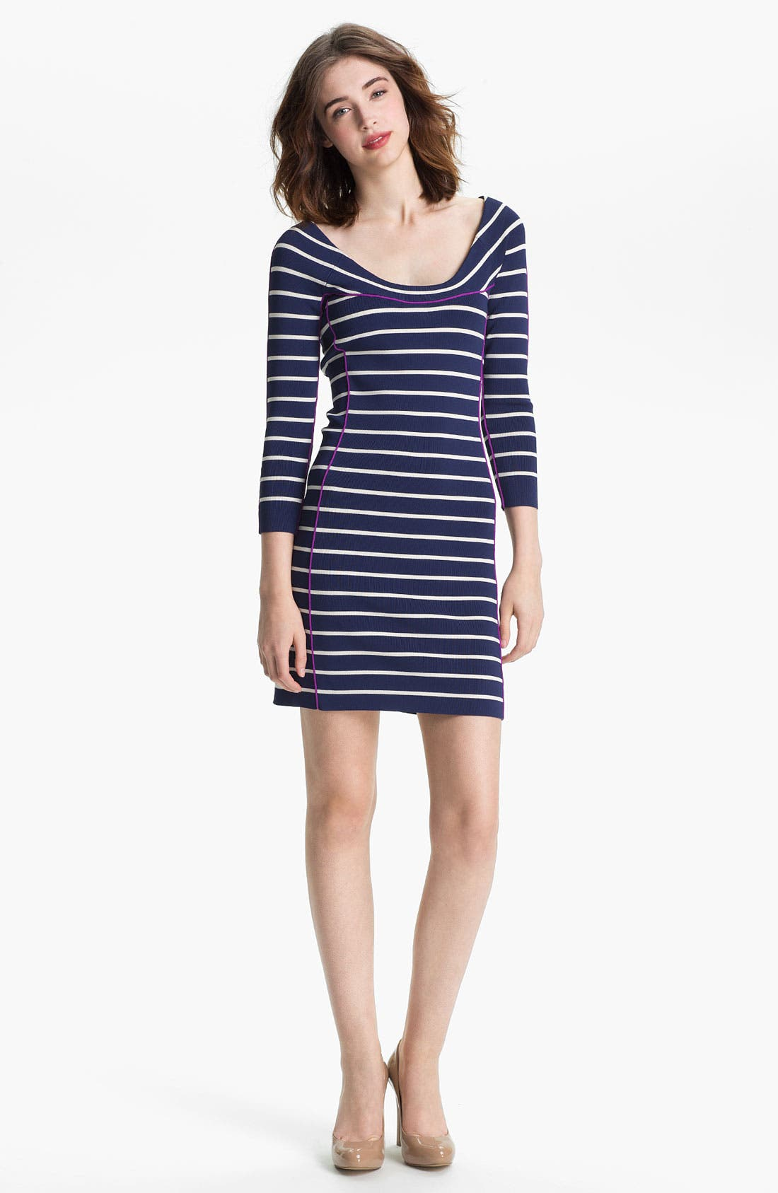 Main Image - Jessica Simpson Contrast Trim Stripe Knit Sheath Dress