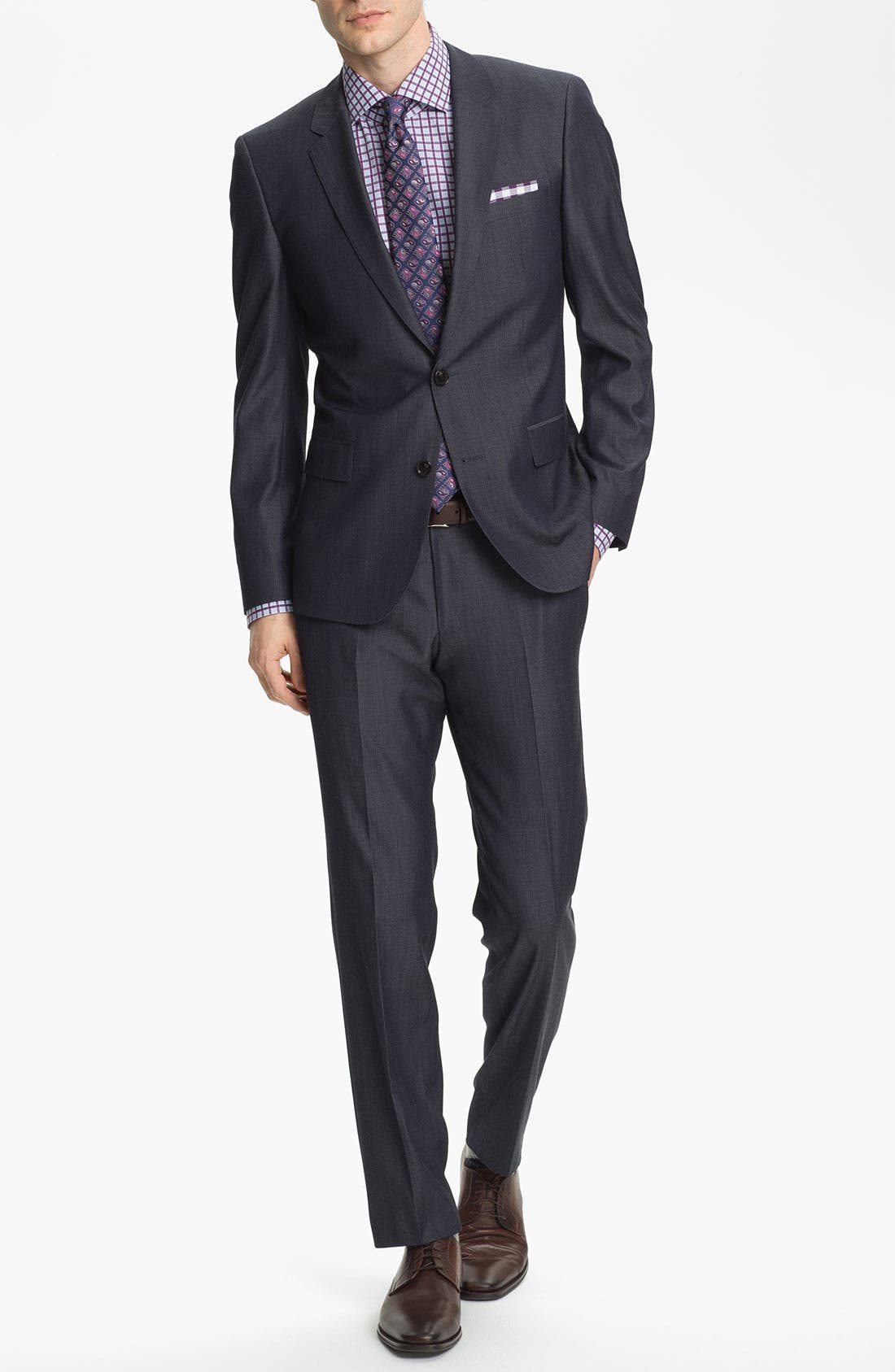 Alternate Image 2  - BOSS Black 'Huge/Genius' Trim Fit Stripe Suit