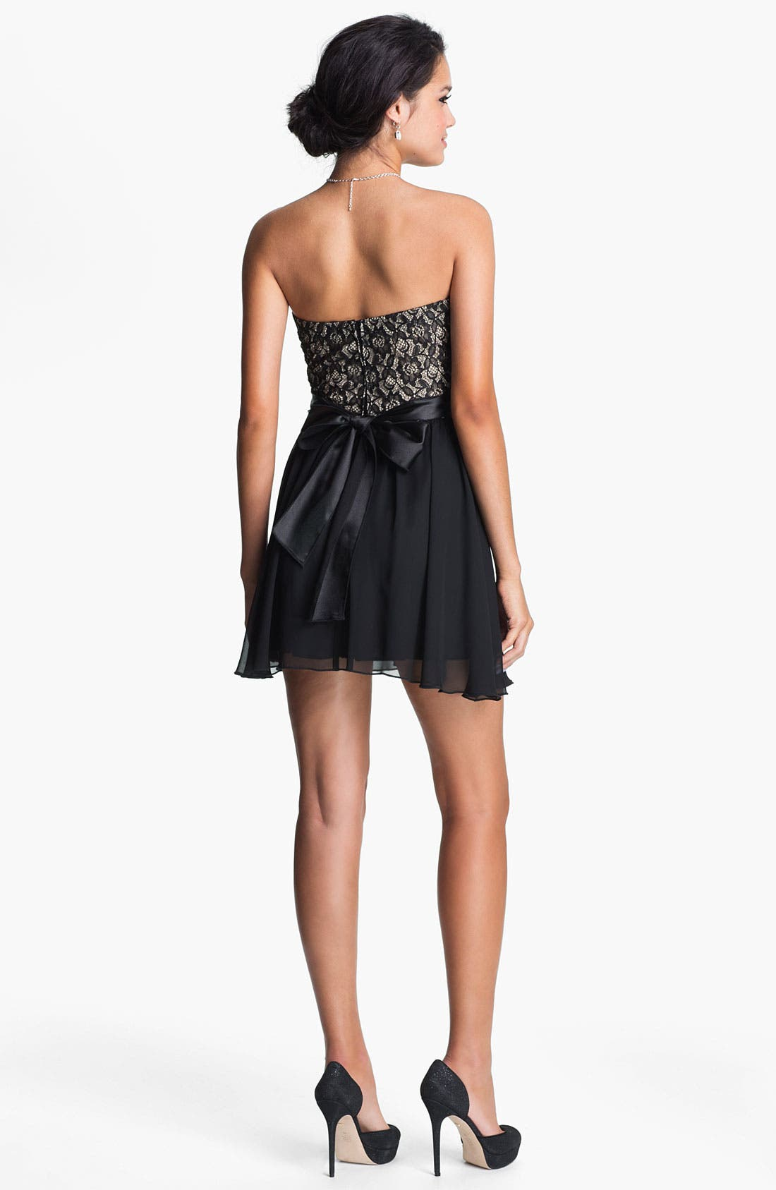 Alternate Image 2  - Trixxi Strapless Lace & Chiffon Dress (Juniors)