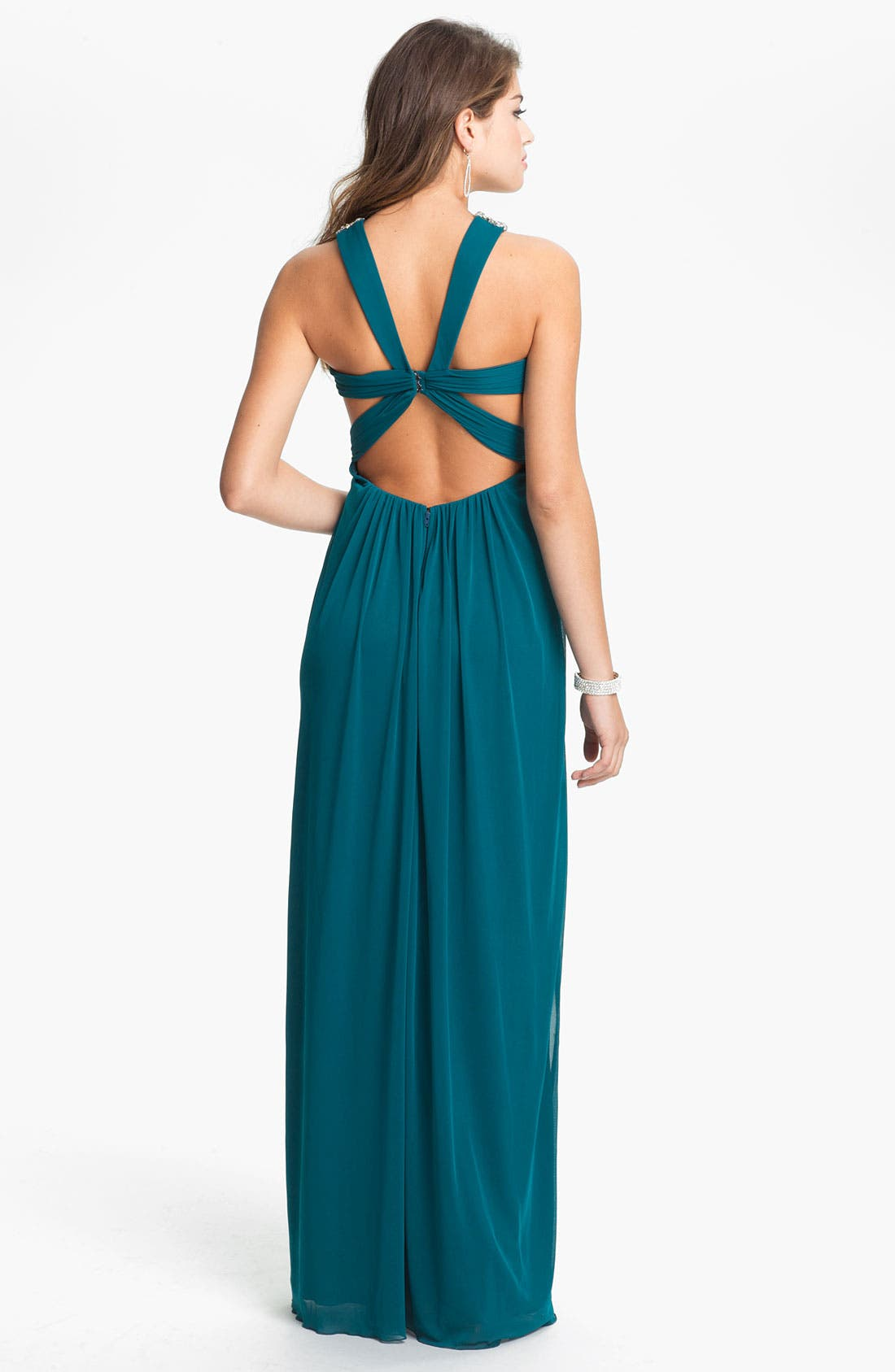 Alternate Image 2  - Way-In Embellished Halter Grecian Gown (Juniors)
