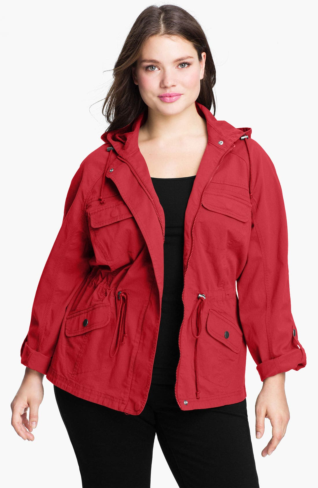 Alternate Image 1 Selected - Sejour 'Megan' Roll Sleeve Twill Jacket (Plus Size)