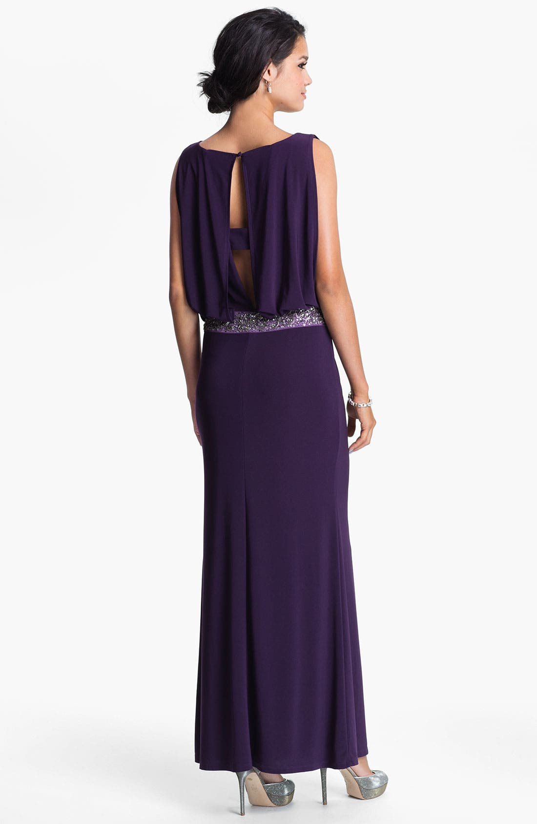 Alternate Image 2  - JS Boutique Back Keyhole Embellished Blouson Jersey Gown