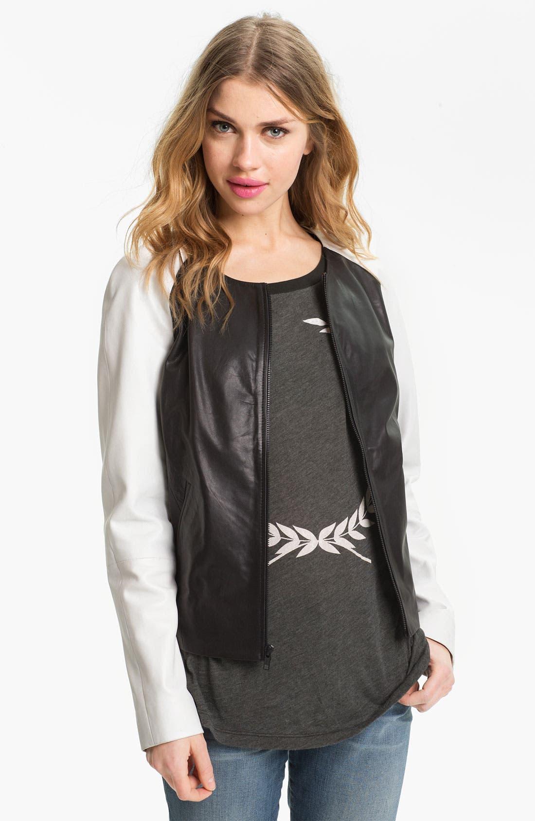 Main Image - Trouvé Colorblock Raglan Sleeve Leather Jacket