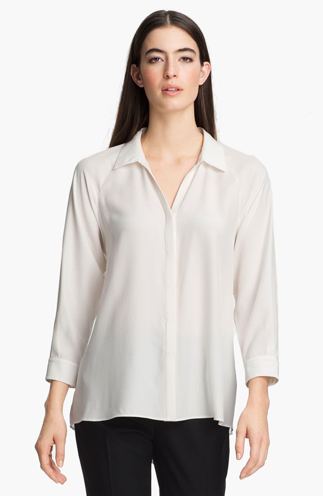 Alternate Image 1 Selected - Lafayette 148 New York 'Dalena' Matte Silk Blouse