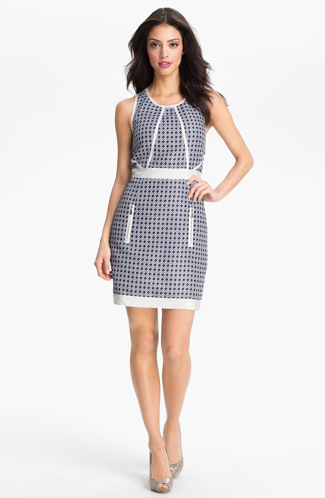 Main Image - Laundry by Shelli Segal Embellished Jacquard Sheath Dress