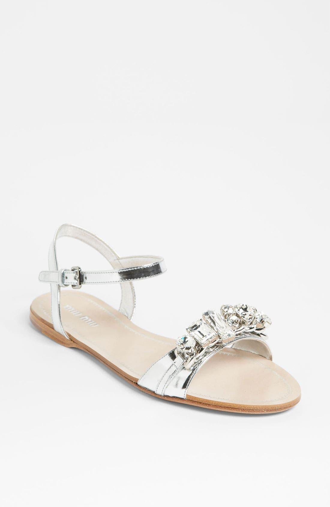 Main Image - Miu Miu Ankle Strap Jewel Sandal