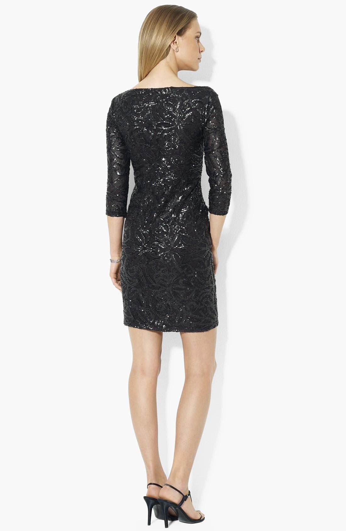 Alternate Image 2  - Lauren Ralph Lauren Embellished Mesh Sheath Dress