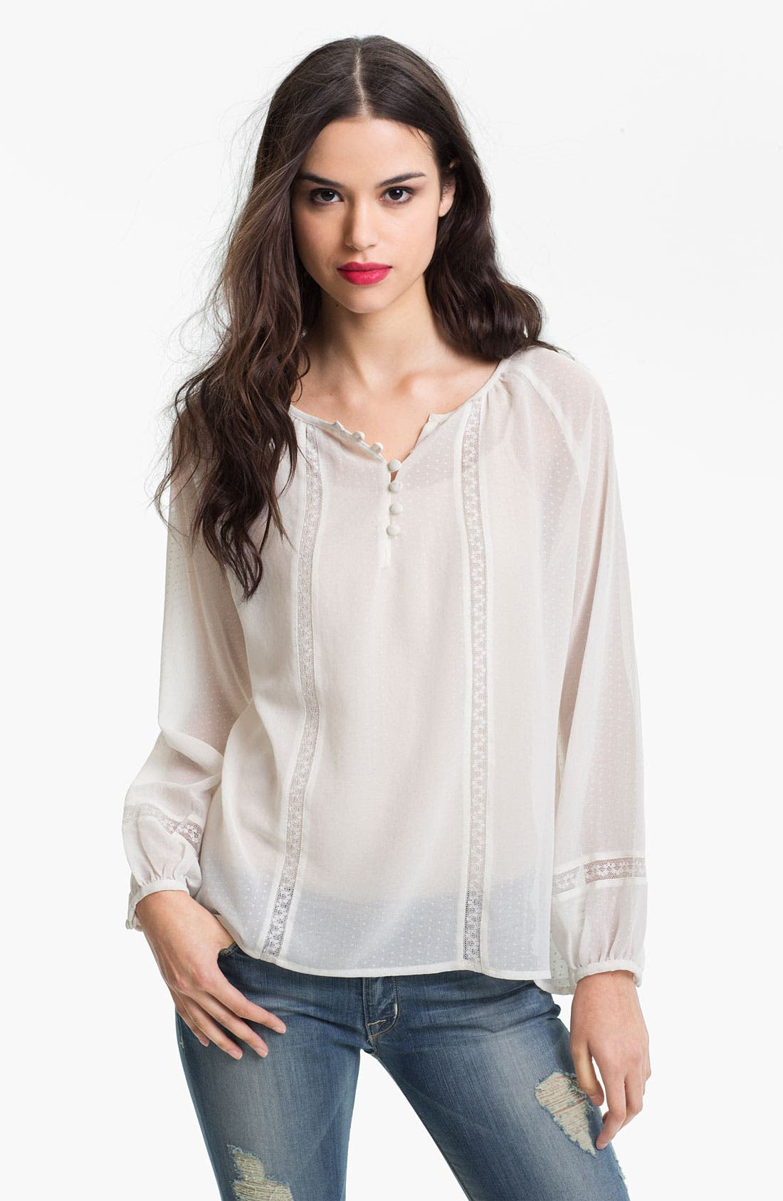 Main Image - Sanctuary Lace Trim Peasant Blouse