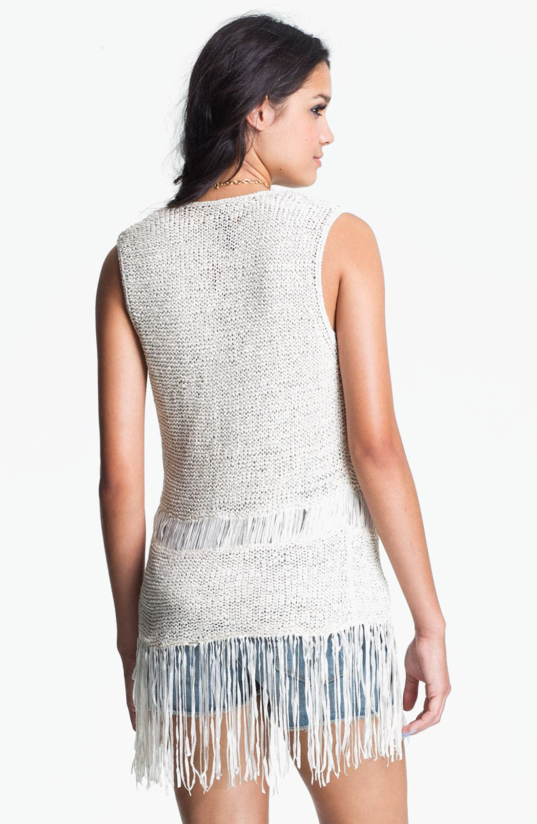 Alternate Image 2  - Absolutely Cotton Knit Fringe Vest (Juniors)