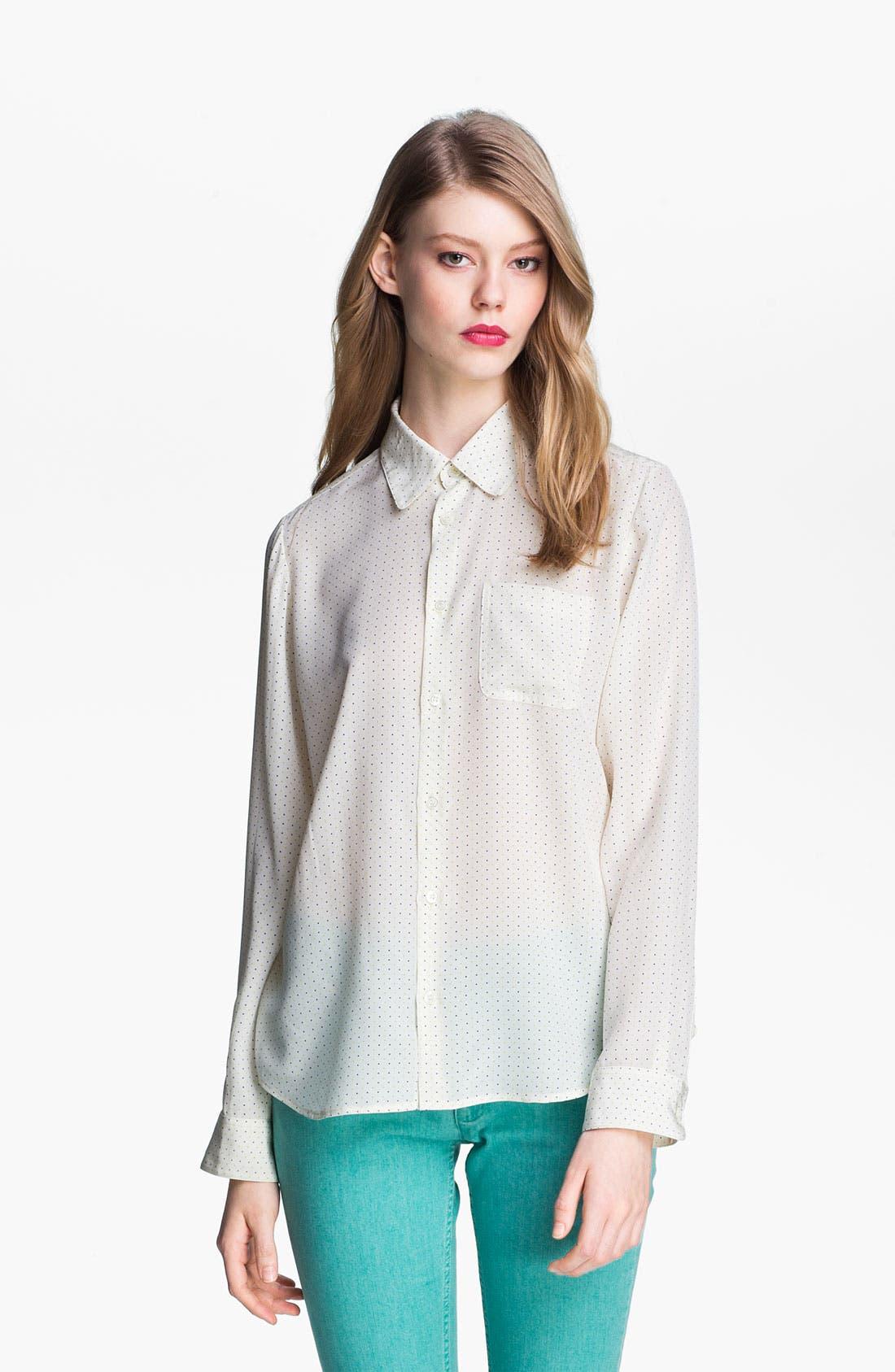 Alternate Image 2  - A.P.C. Long Sleeve Dot Silk Blouse