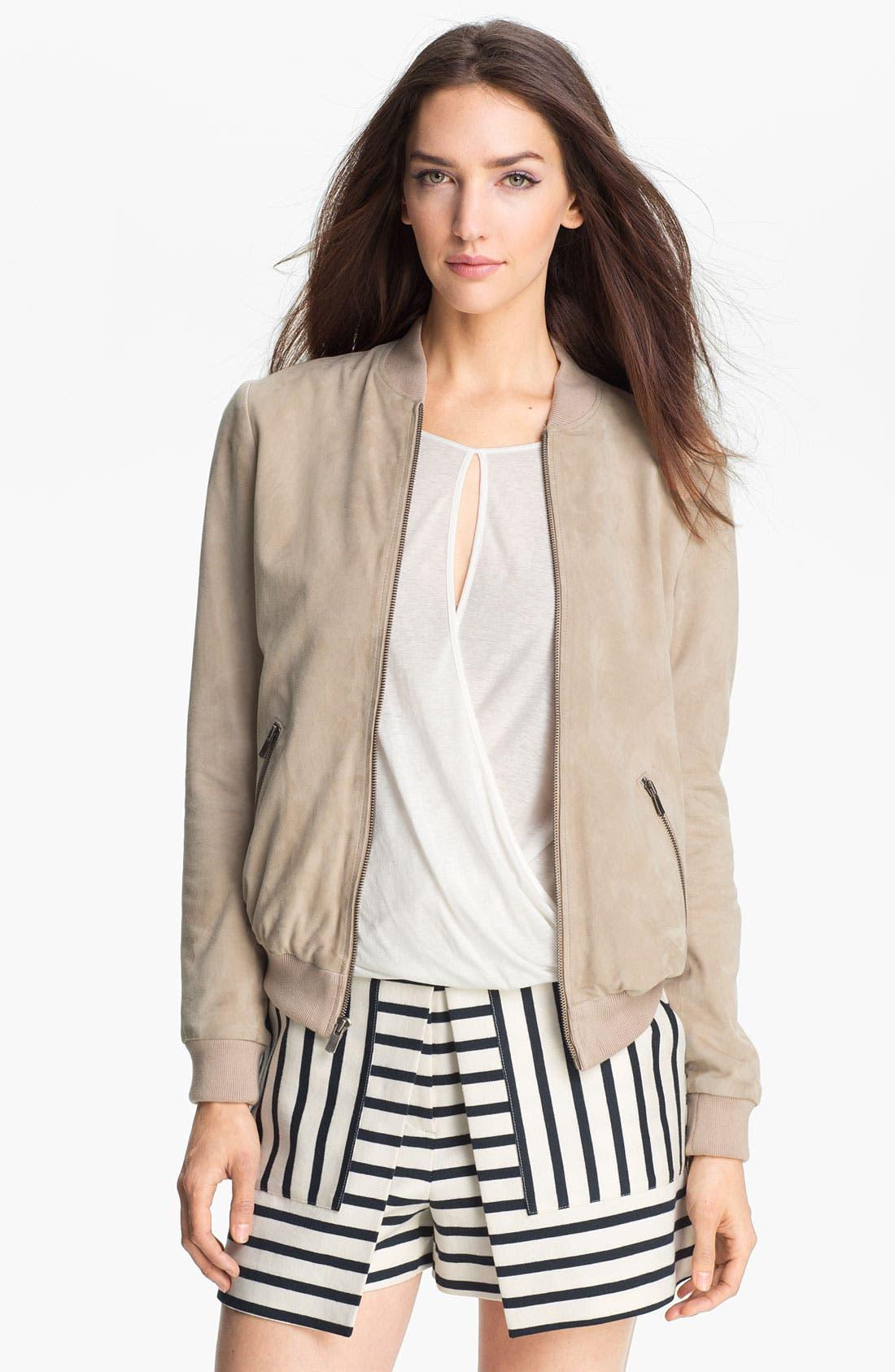 Main Image - Theory 'Yudita' Leather Bomber Jacket