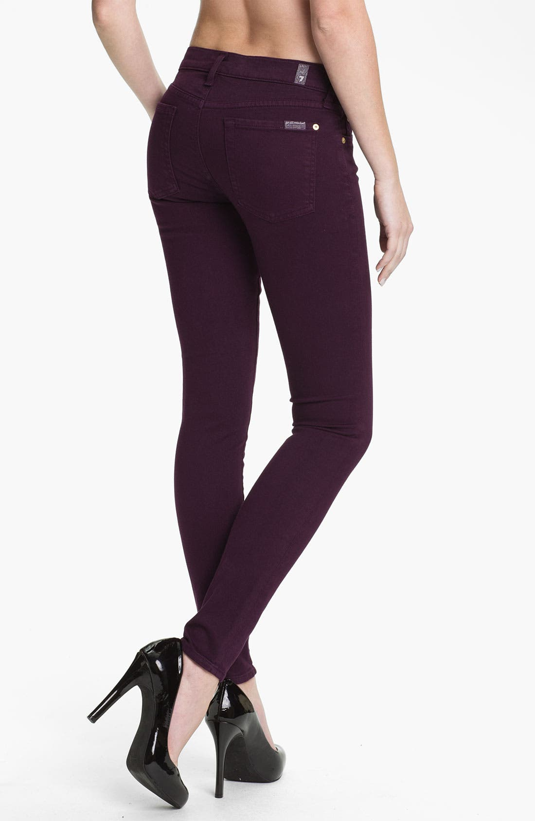 Alternate Image 2  - 7 For All Mankind® 'Slim Illusion' Overdyed Skinny Stretch Jeans (Bordeaux)
