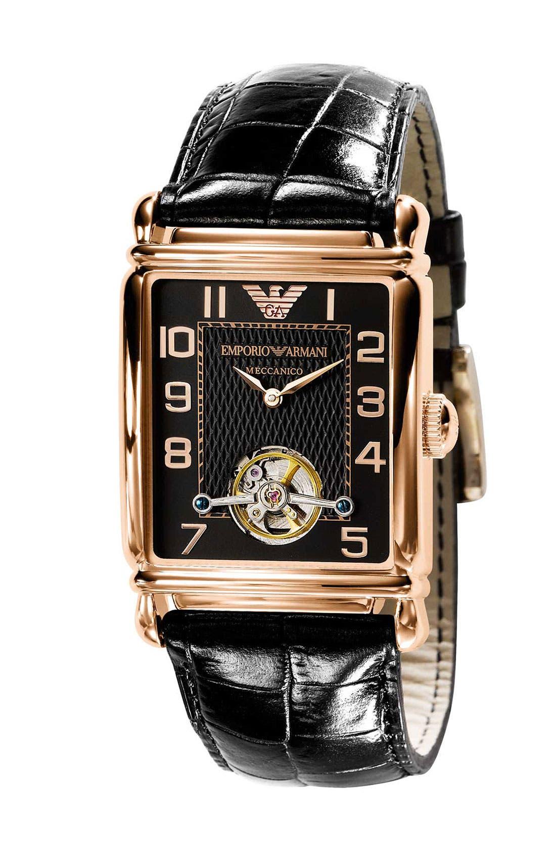Main Image - Emporio Armani 'Meccanico' Automatic Rectangular Watch