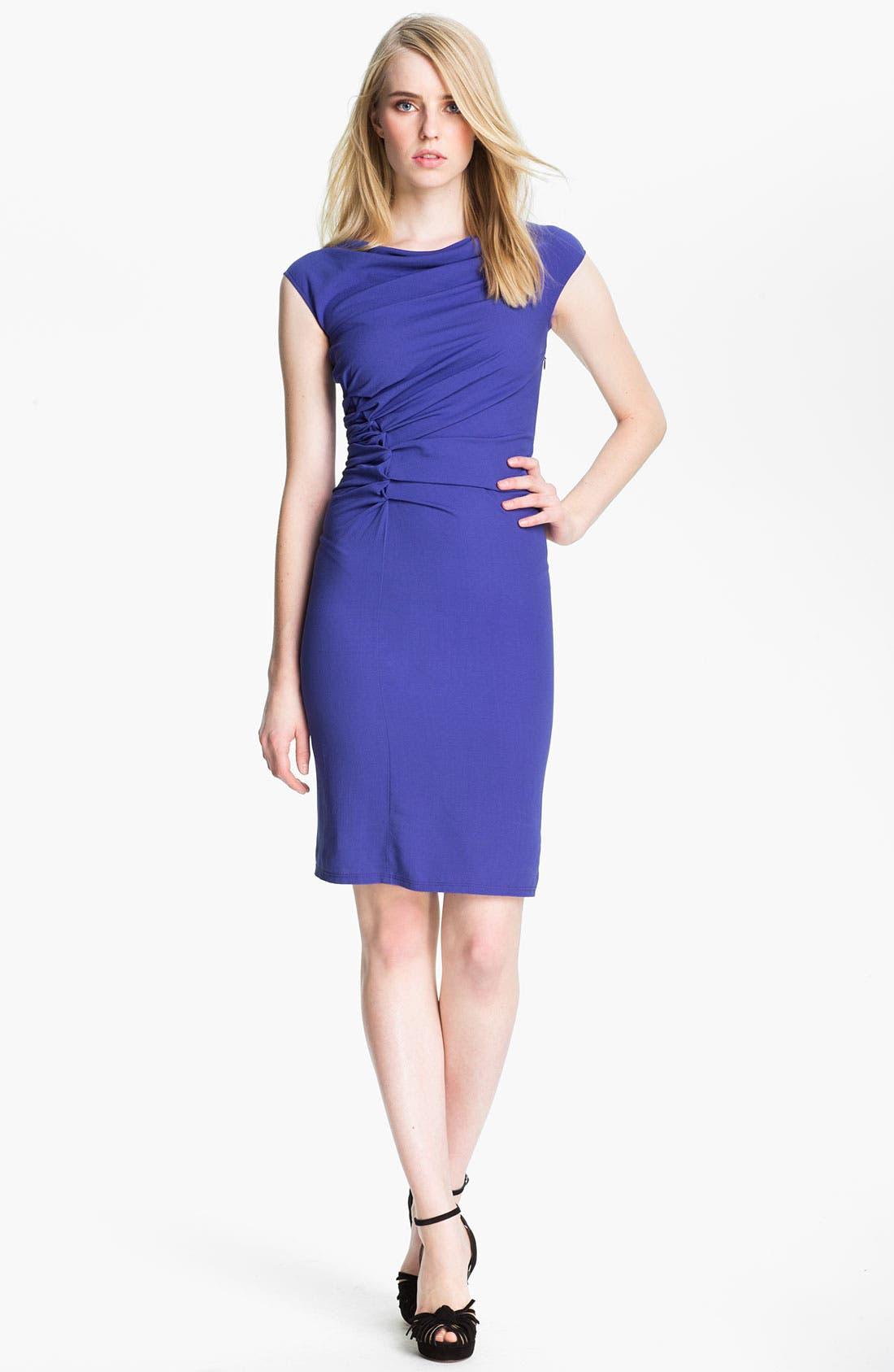 Main Image - Halston Heritage Reverse Pleat Crepe Sheath Dress
