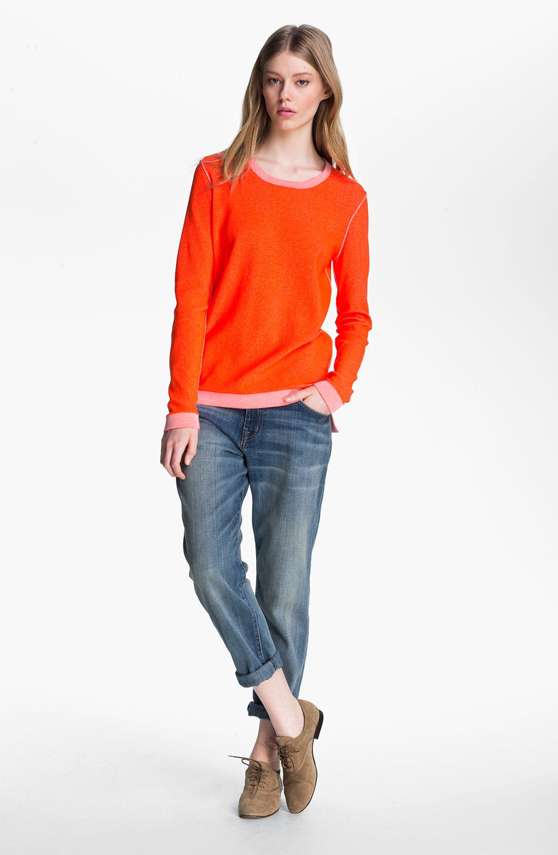 Alternate Image 1 Selected - Tibi Reversible Neon Plaited Sweatshirt