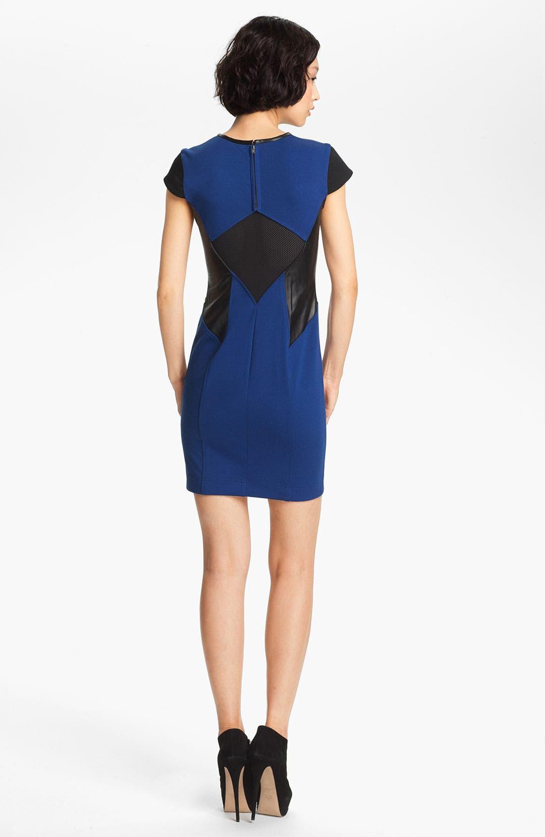 Alternate Image 2  - Cut25 Leather & Ponte Knit Dress
