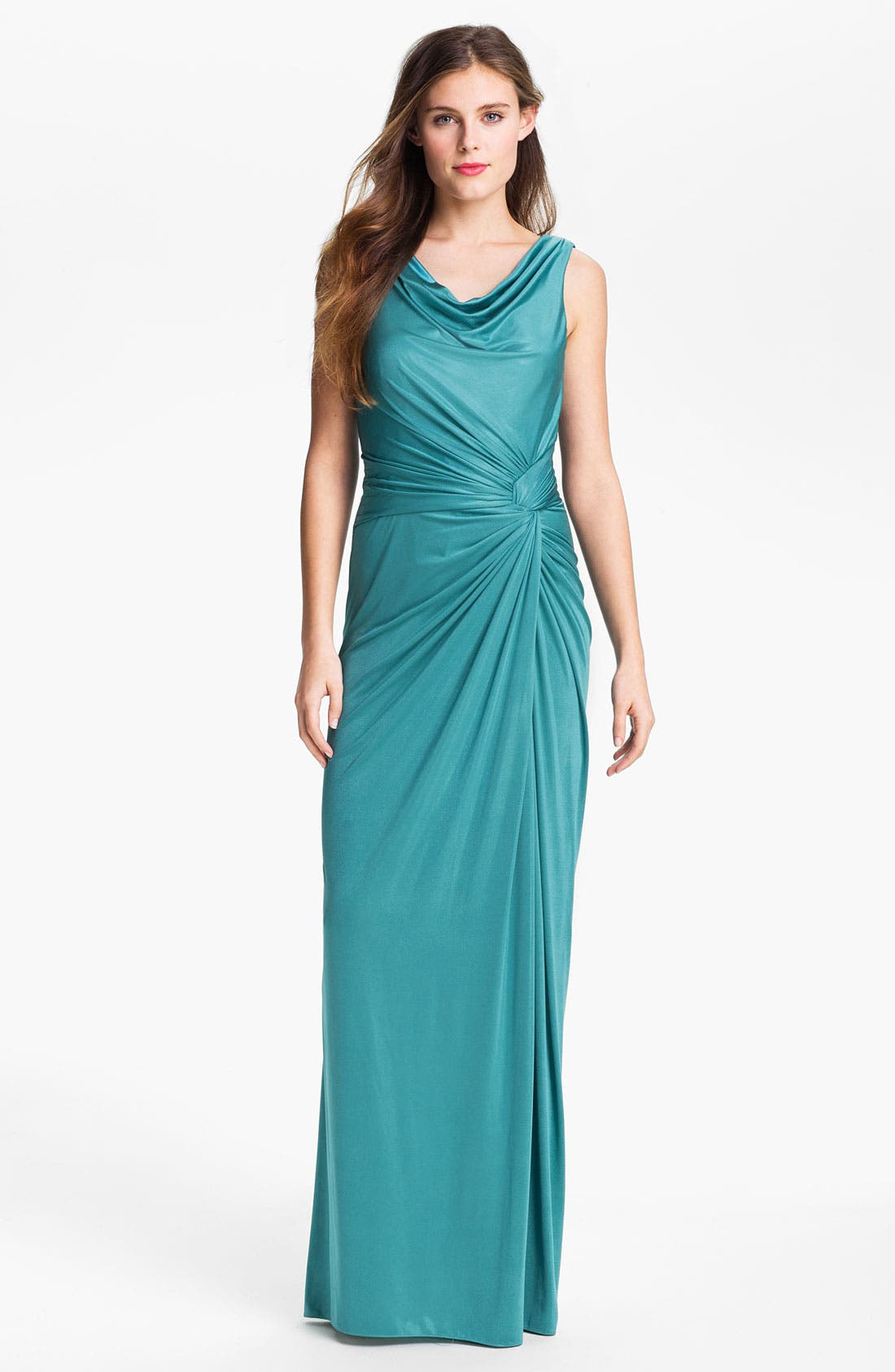 Main Image - Adrianna Papell Draped Front Twist Charmeuse Gown