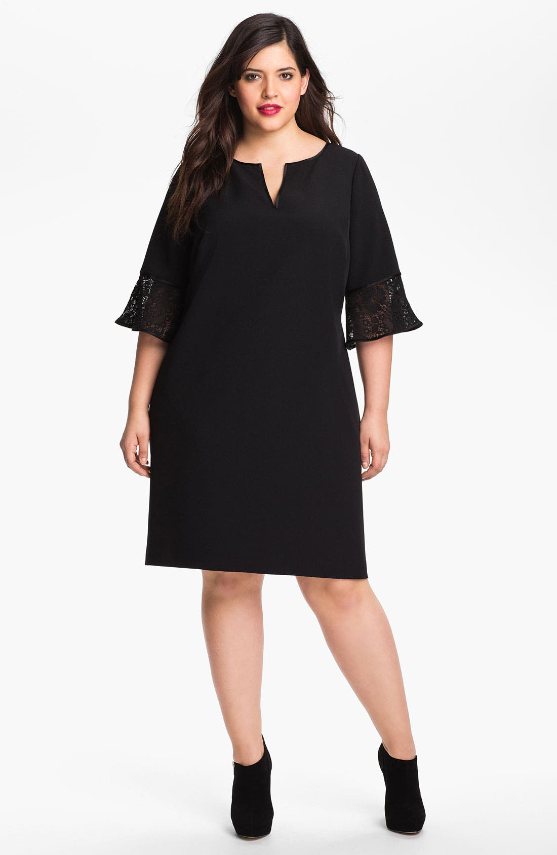 Alternate Image 1 Selected - Adrianna Papell Crepe Shift Dress (Plus Size)