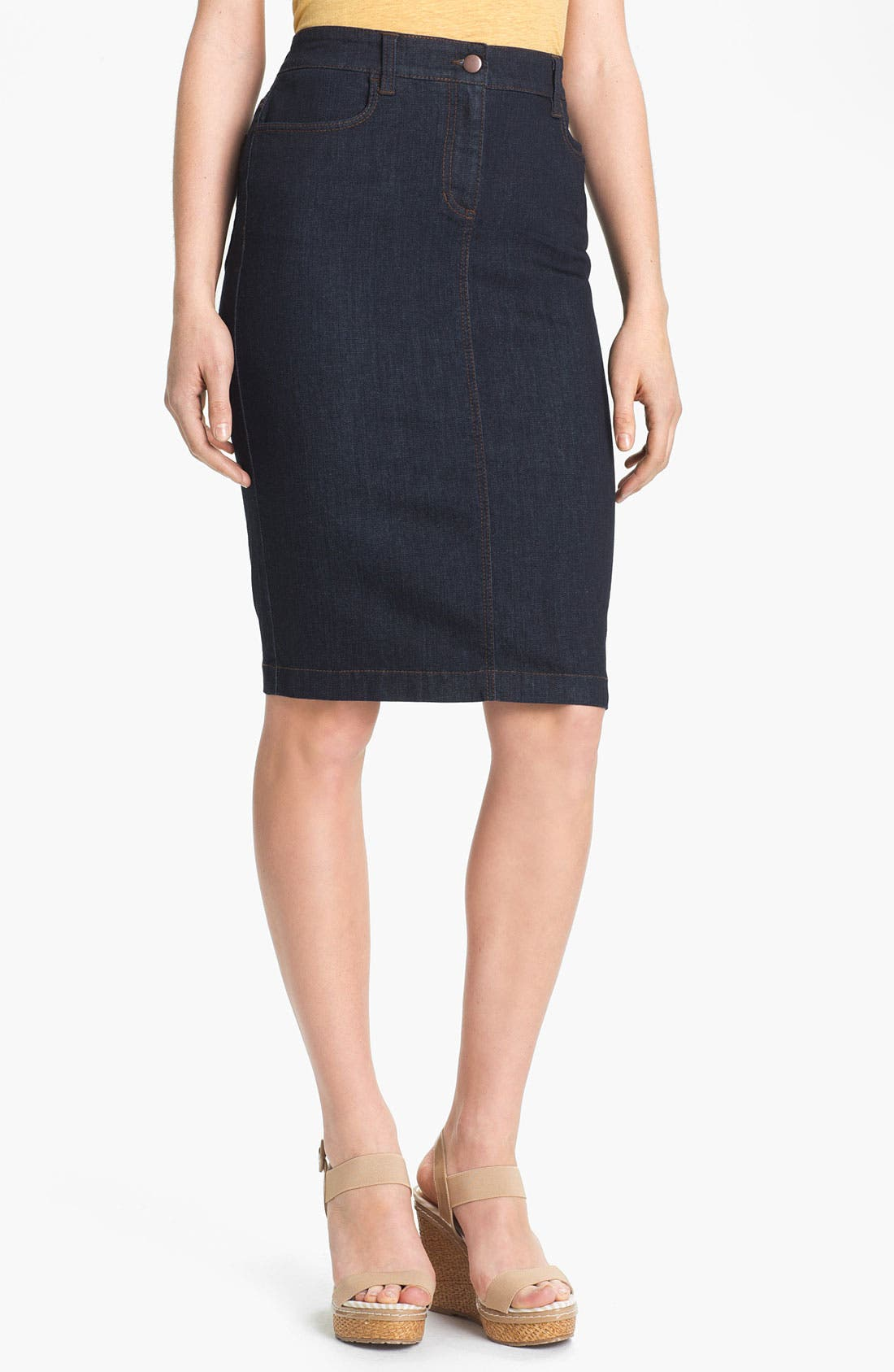 Alternate Image 1 Selected - Eileen Fisher Stretch Denim Skirt