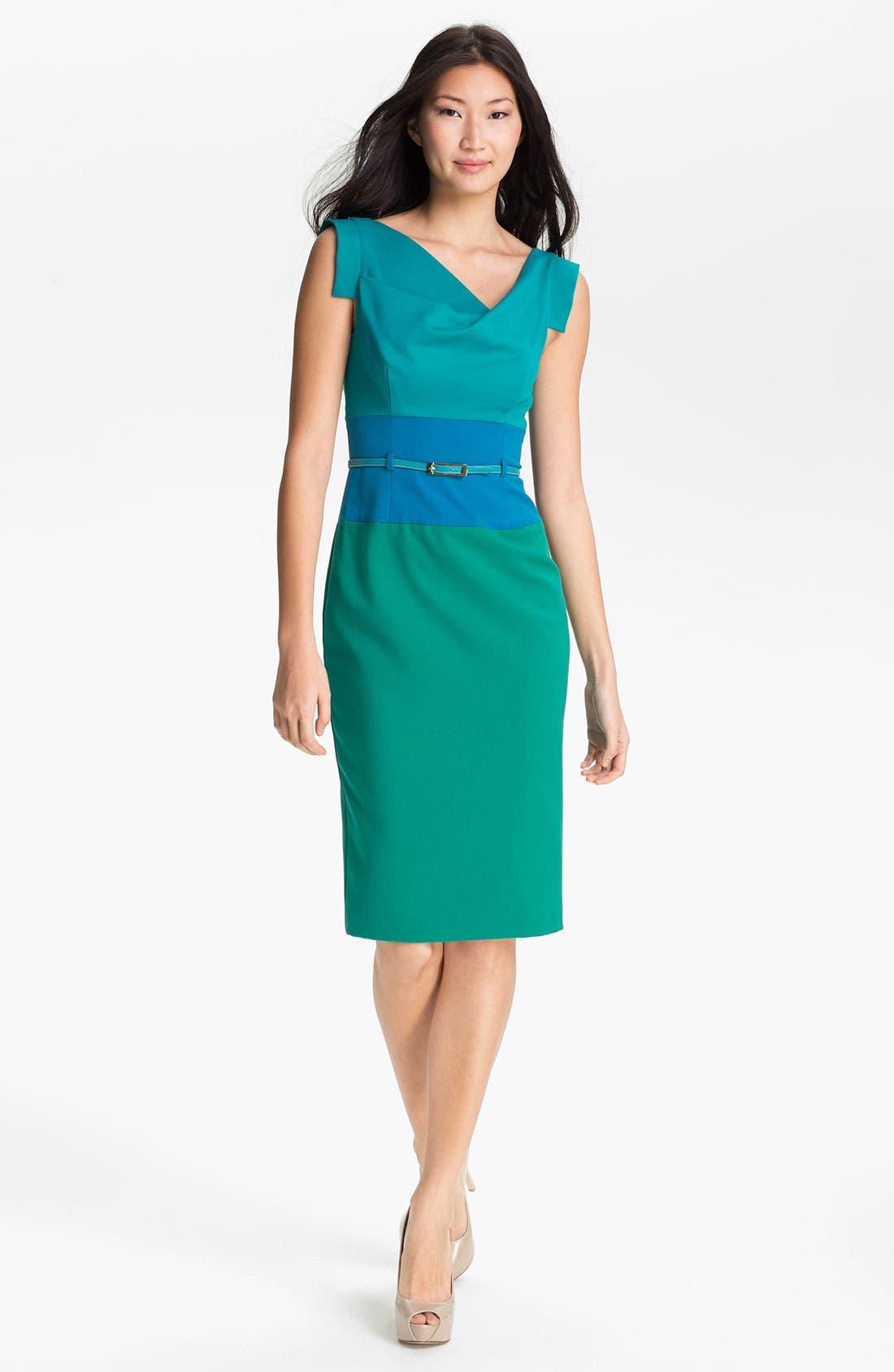 Alternate Image 1 Selected - Black Halo 'Jackie O' Colorblocked Sheath Dress