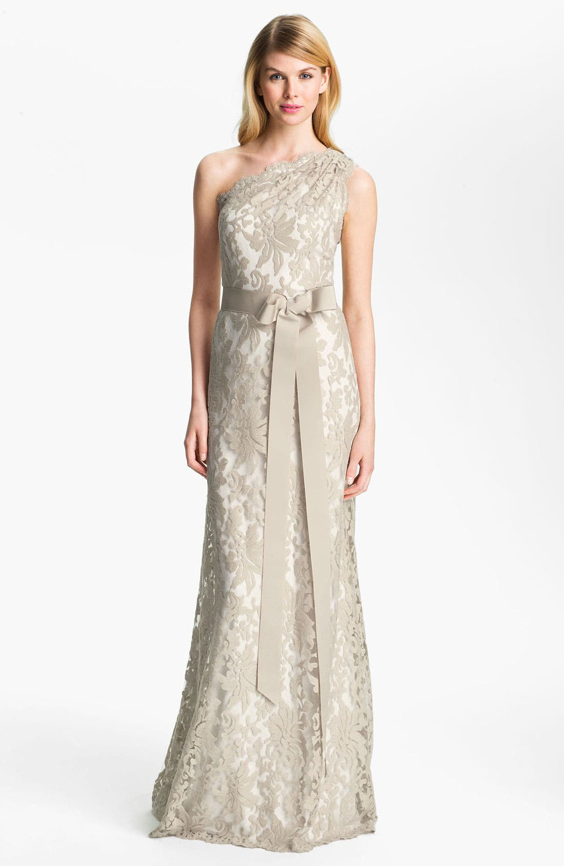 Alternate Image 1 Selected - Tadashi Shoji One Shoulder Lace Overlay Tulle Gown