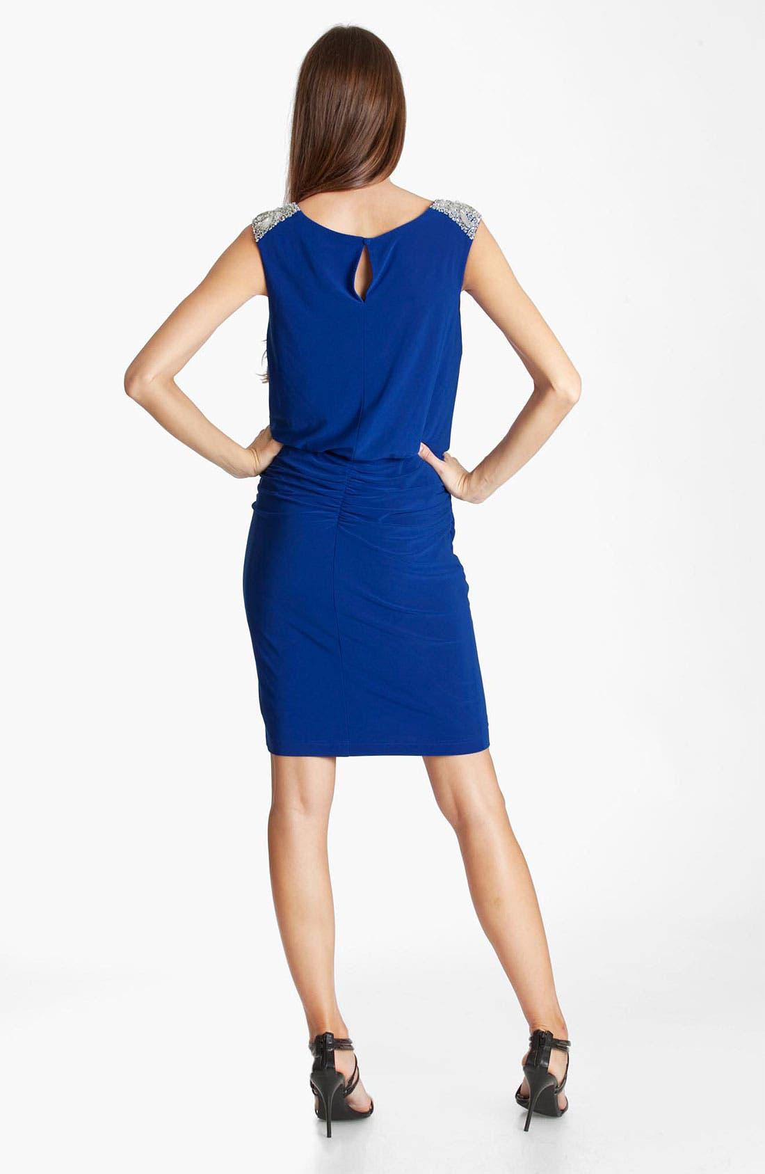 Alternate Image 2  - JS Boutique Jeweled Cowl Neck Blouson Dress