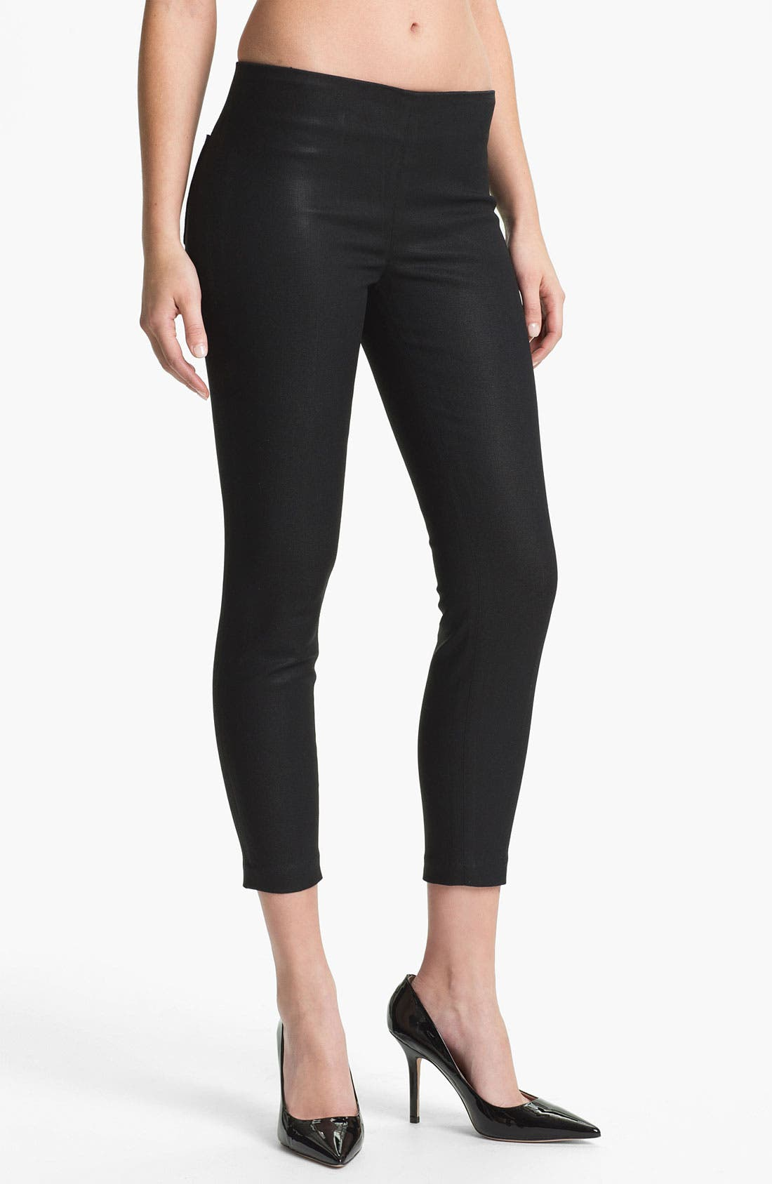 Main Image - J Brand Stretch Capri Leggings (Coated Black)