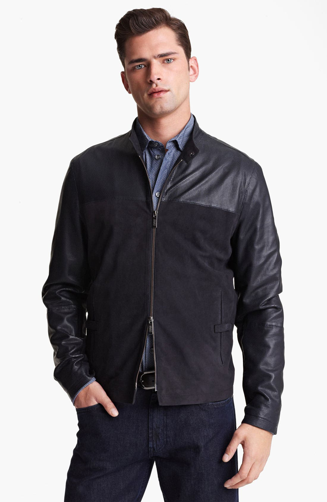 Alternate Image 1 Selected - Armani Collezioni Perforated Lambskin Leather Jacket