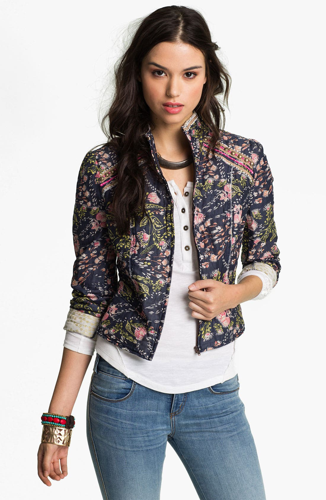 Alternate Image 1 Selected - Free People 'Meadow' Quilted Voile Jacket