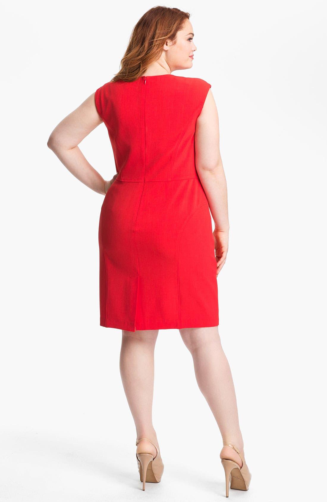 Alternate Image 2  - Adrianna Papell Cap Sleeve Jersey Sheath Dress (Plus Size)