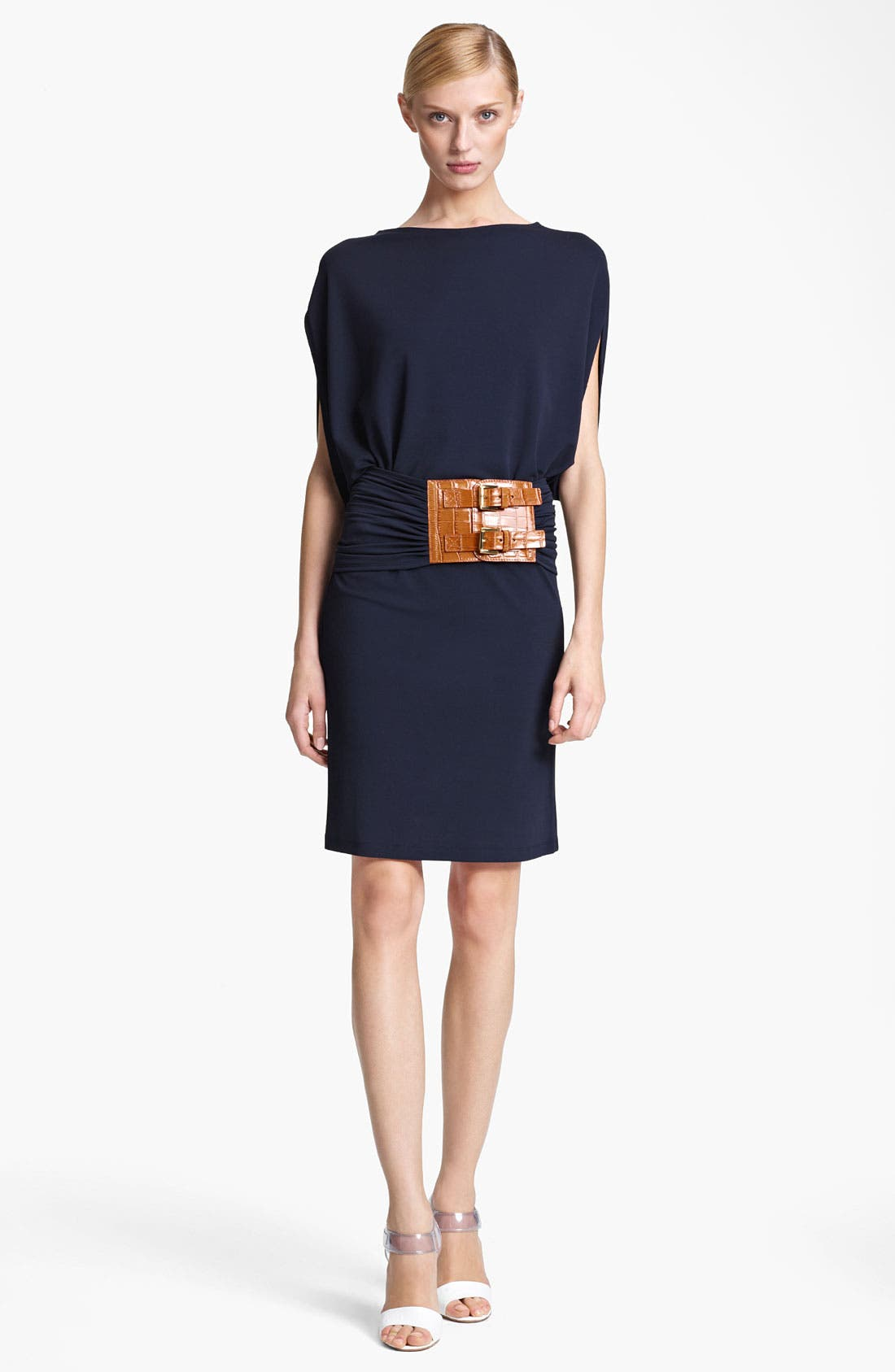 Alternate Image 1 Selected - Michael Kors Flutter Sleeve Matte Jersey Dress