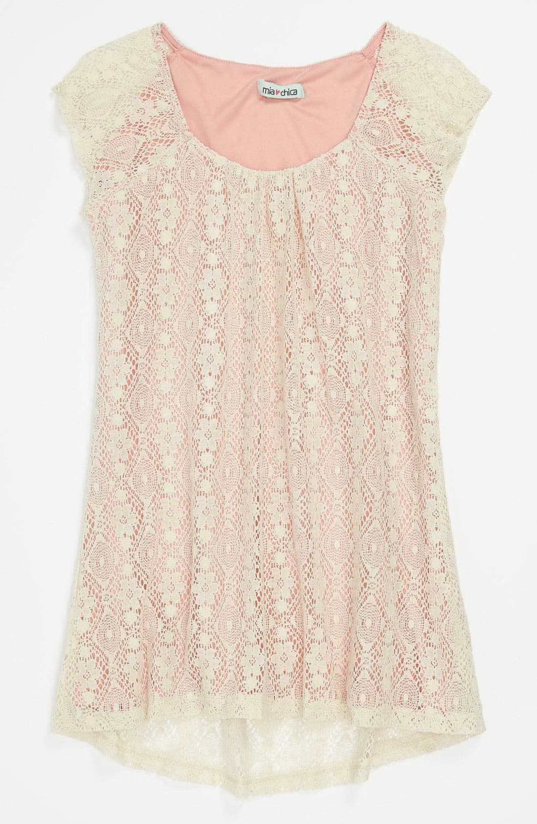 Main Image - Mia Chica Lace Overlay Trapeze Dress (Big Girls)