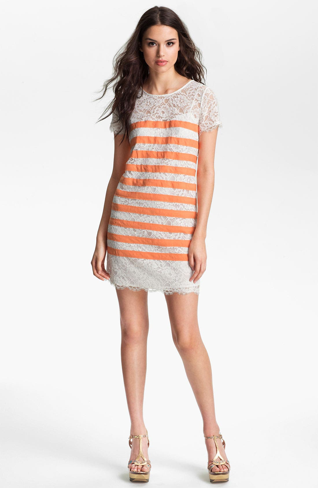 Main Image - BCBGMAXAZRIA Stripe Lace Dress