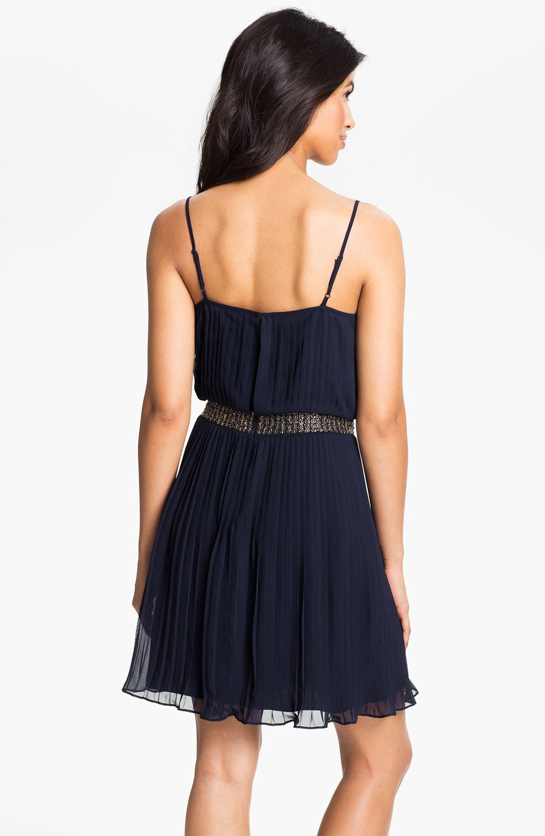 Alternate Image 2  - Adrianna Papell Beaded Pleated Chiffon Dress (Petite)