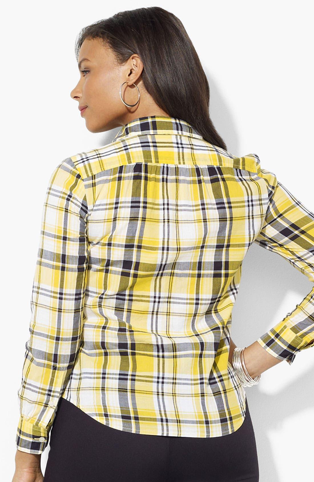 Alternate Image 2  - Lauren Ralph Lauren Plaid Shirt (Plus)