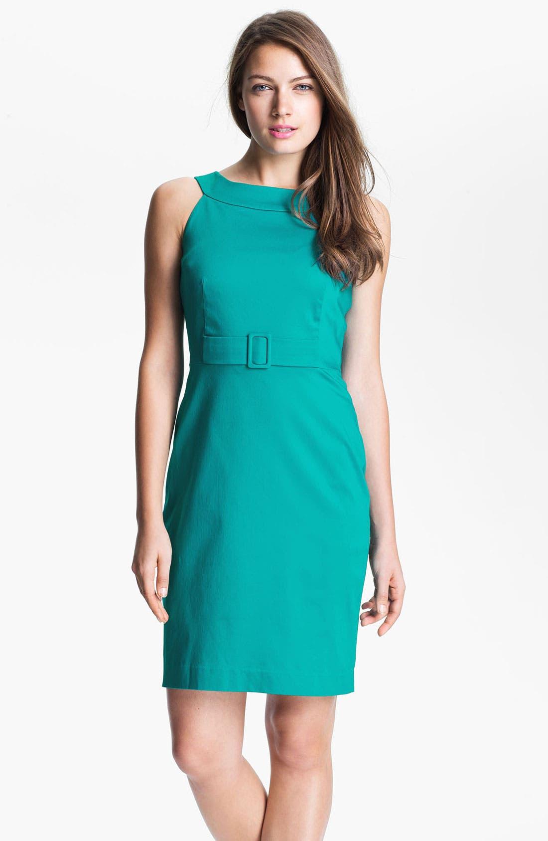 Main Image - Calvin Klein Cutaway Belted Cotton Dress