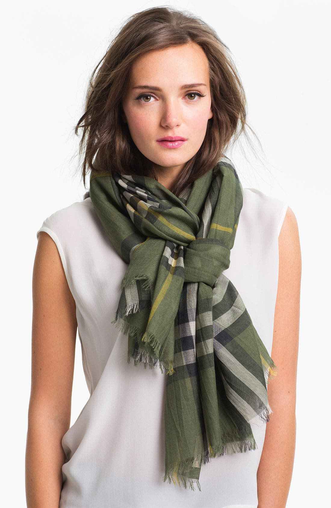 Main Image - Burberry Giant Check Print Wool & Silk Scarf